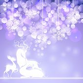 pic of deer family  - vector illustration of reindeer family in Christmas  background - JPG