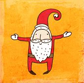 Cartoon Santa Claus. Cute Hand Drawn Vector illustration, Vintage Paper Texture Background