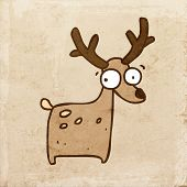 Cartoon Deer. Cute Hand Drawn Vector illustration, Vintage Paper Texture Background