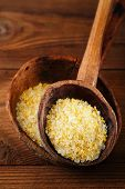 citron lemon salt in rustic  wooden spoons