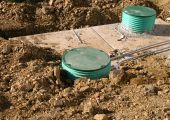 stock photo of feces  - A newly installed septic tank system for a residential home - JPG