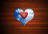 Heart Shape Cut On Brown Wooden Wall