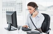 Side view of an elegant businesswoman using land line phone and computer in a bright office