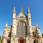 Front facade of Winchester Cathedral in England