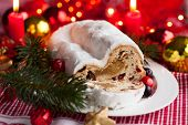 Cranberry stollen with marzipan for Christmas