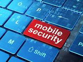 Safety concept: Mobile Security on computer keyboard background