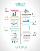 Timeline to display your data in order with Infographic elements technology icons,  graphs,world map