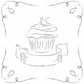 Black and white drawing of a cupcake.