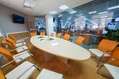 MOSCOW - MAR 5: Conference room in office buildings news agency RIA Novosti with round table on Marc