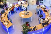 MOSCOW - MAR 5: Office room news agency RIA Novosti with tables around with blue light on March 5, 2