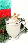 Mug of delicious Holiday egg nog on white background with pine boughs and a Christmas gift.