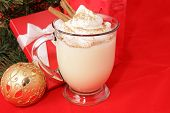 Mug of delicious eggnog, topped with whipped cream, nutmeg, and cinnamon sticks, for Christmas.