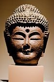 closed up the buddha head in museum
