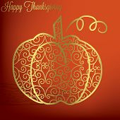 image of give thanks  - Filigree pumpkin Thanksgiving card in vector format - JPG