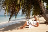 Blond Women Reading Under Palm Tree