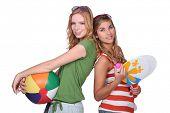 stock photo of sweet sixteen  - Teenagers ready for the beach - JPG