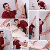 Montage of a man wallpapering