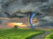 Tornado sweeping through a country landscape at sunset. Digital illustration.