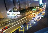 Cars Passing The Salisbury Road By Night In Kowloon, Hong Kong