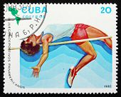 Postage Stamp Cuba 1983 High Jump, Athletics