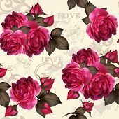 Beautiful Vector Seamless Floral  Pattern With Roses