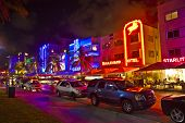 Night View At Ocean Drive On In Miami Beach In The Art Deco District