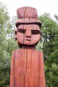 image of indian totem pole  - Mapuchen totem face at Temuco in Chile - JPG