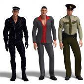 Three Different Outfits: Biker, Dressman, Policemen
