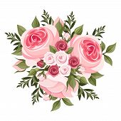 foto of english rose  - Vector illustration of bouquet of pink roses and leaves - JPG