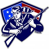 pic of muskets  - Illustration of an American Patriot frontiersman colonist settler Daniel Boone holding musket rifle set inside shield with American stars and stripes flag on isolated white background - JPG