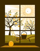 pic of hand-barrow  - vector apple trees and hand barrow with basket of apples outside the window - JPG