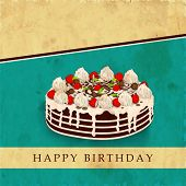 Delicious birthday cake on vintage brown and green abstract background.