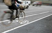 Cyclist In Bicycle Lane