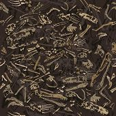 stock photo of dinosaur skeleton  - seamless dinosaur bones in the ground pattern - JPG