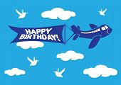 Aeroplane With Birthday Flying Message Banner.