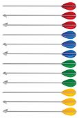 image of fletching  - Arrow in different colors and arrow heads - JPG