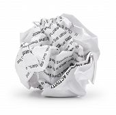 Paper ball - Crumpled sheet of print text script writing paper isolated
