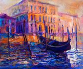 stock photo of gondola  - Original oil painting of beautiful Venice Italy at sunset on canvas - JPG