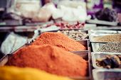 picture of local shop  - Indian colored spices at local market in Goa India - JPG