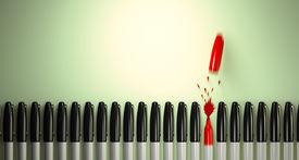 picture of sharpie  - Felt tip marker breaks the line in a burst of red ink - JPG