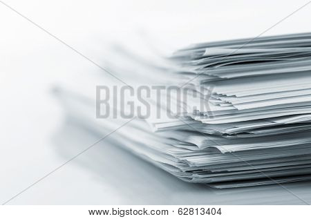 Stack of white papers poster