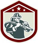 Fireman Firefighter Fire Hose Shield Retro