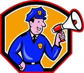 Policeman Shouting Bullhorn Shield Cartoon