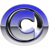 Chrome Copyright Sign With Color Gradient Reflections Isolated On White