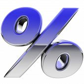 Chrome Percent Sign With Color Gradient Reflections Isolated On White