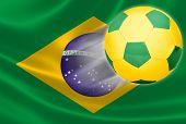 Soccer Ball Flying Out Of Brazilian Flag