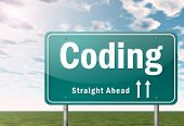 stock photo of execution  - Highway Signpost Image with Coding related wording - JPG