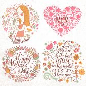 Cute retro vector cards with mother and child, flower wreath, hearts. Happy mothers day. Vintage floral backgrounds with woman and baby. I love you postcard. Set of four designs.