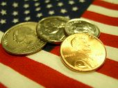 American Coins On The USA Flag poster