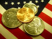 US Coins On The USA Flag